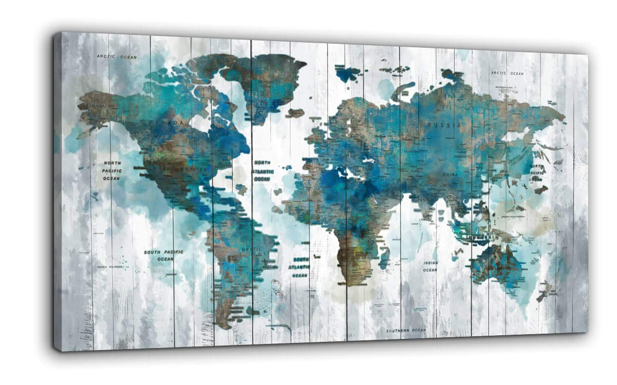 Yiijeah Abstract World Map Canvas Wall Art for Living Room Office Green Teal White World Map Picture Print Artwork Decor for Home Bedroom Decoration