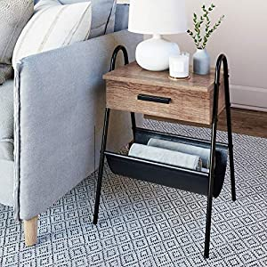 Nathan James Hugo Wood Nightstand, Rustic Accent End or Side Table with Drawer, Durable Black Metal Frame & Leather…