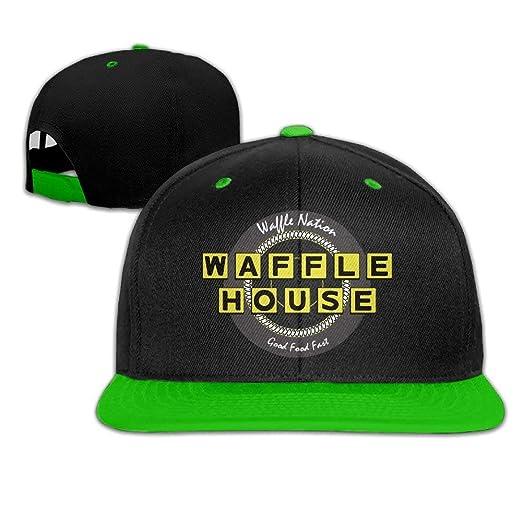 7418b52ad8d15 Amazon.com  Unisex Adjustable Caps Waffle House Flatbrim Baseball Hats  Snapback Flat Bill Flexfit Hat Snapbacks Caps for Women Men KellyGreen   Clothing