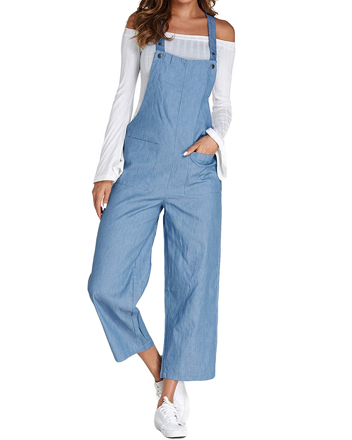 ACHIOOWA Women's Dungarees Romper Jumpsuit Playsuit Sleeveless Baggy Loose Trousers Pants Overalls