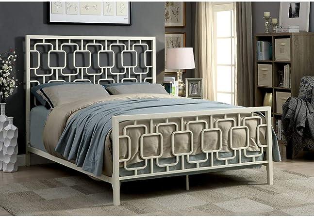 Amazon Com Benjara Benzara Metal King Size Bed With Geometric