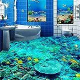 Ohcde Dheark Custom 3D Floor Sticker Mural Paintings Pvc Self-Adhesive Wallpaper Waterproof Living Room Bathroom Floor Mural Ocean Wallpaper 2800Cmx280Cm