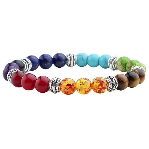 7 Chakra | Amethyst Stone  Yoga Balancing | Reiki Healing Bracelet  Handmade Jewelry