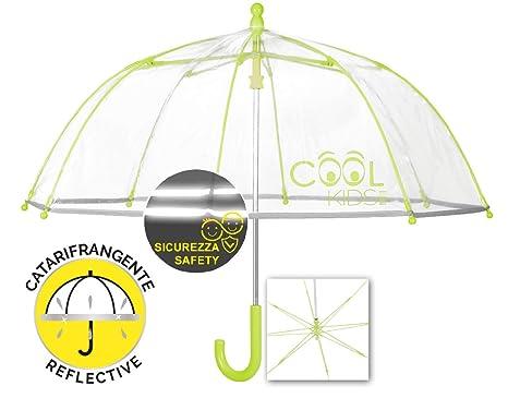 Paraguas Infantil Transparente Reflectante Verde