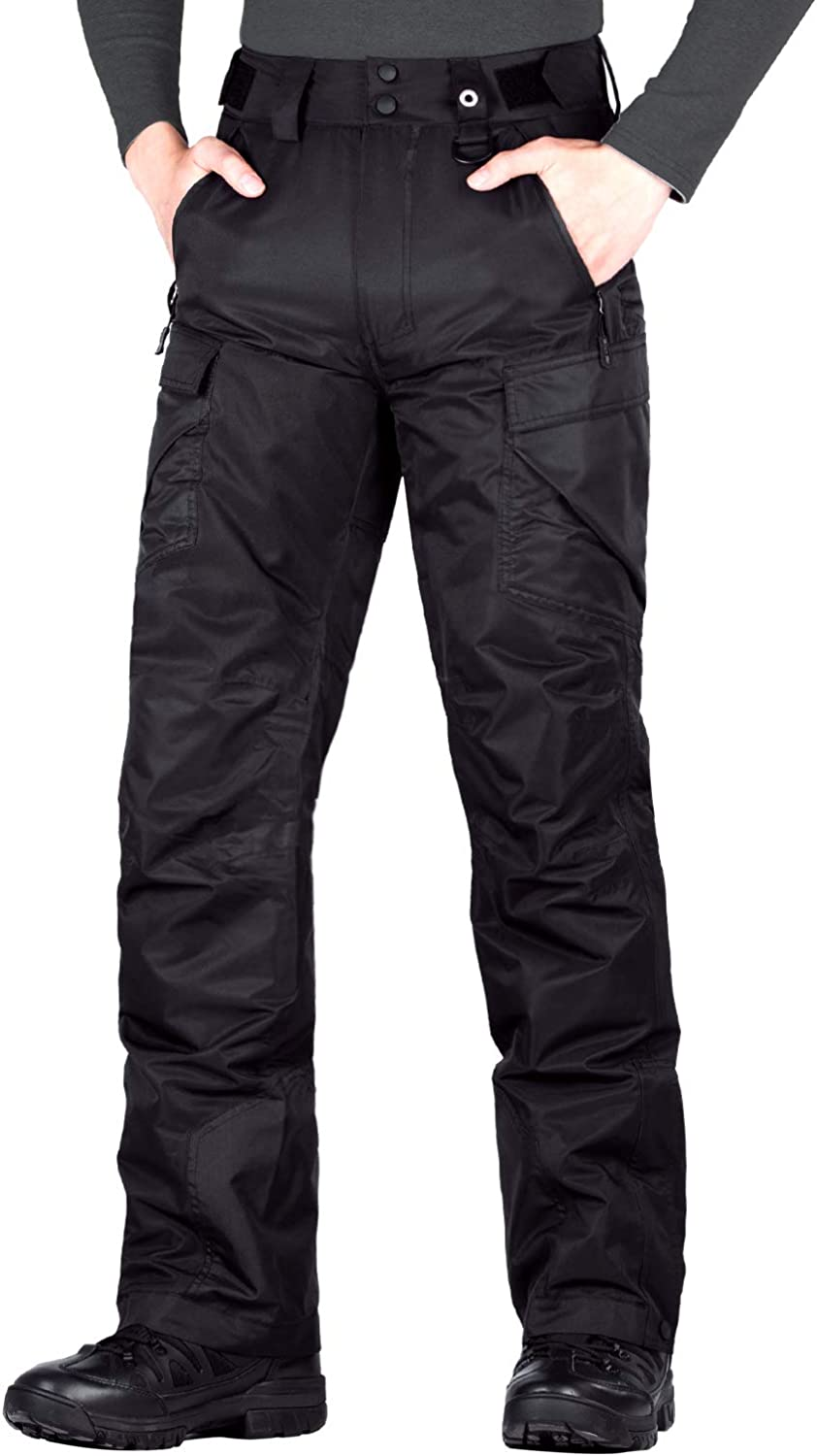 FREE SOLDIER Men's Waterproof Snow Insulated Pants Winter Skiing Snowboarding Pants with Zipper Pockets