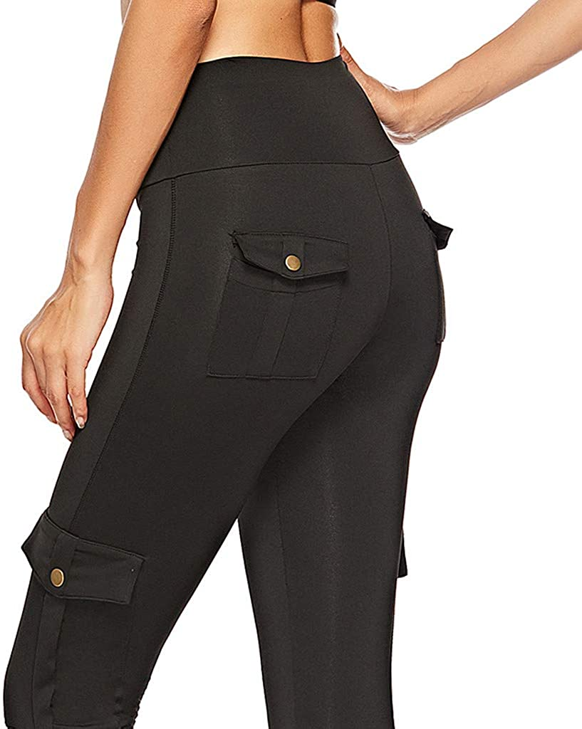 JOFOW Womens Leggings Solid Basic with Pockets Military Long Sports Pants