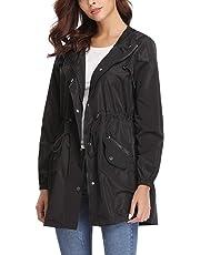 Aibrou Women's Hooded Jacket, Long Sleeve Outdoor Waterproof Lightweight Thin Windbreaker Raincoats