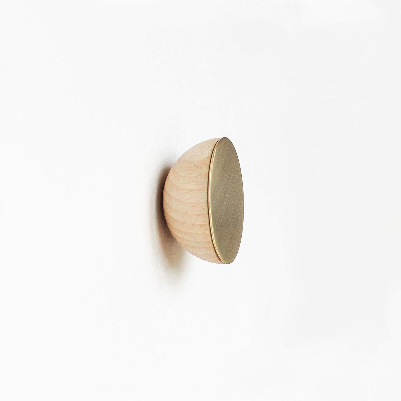 Modern wood wall mounted coat hook Round Beech Wood Wall Hook