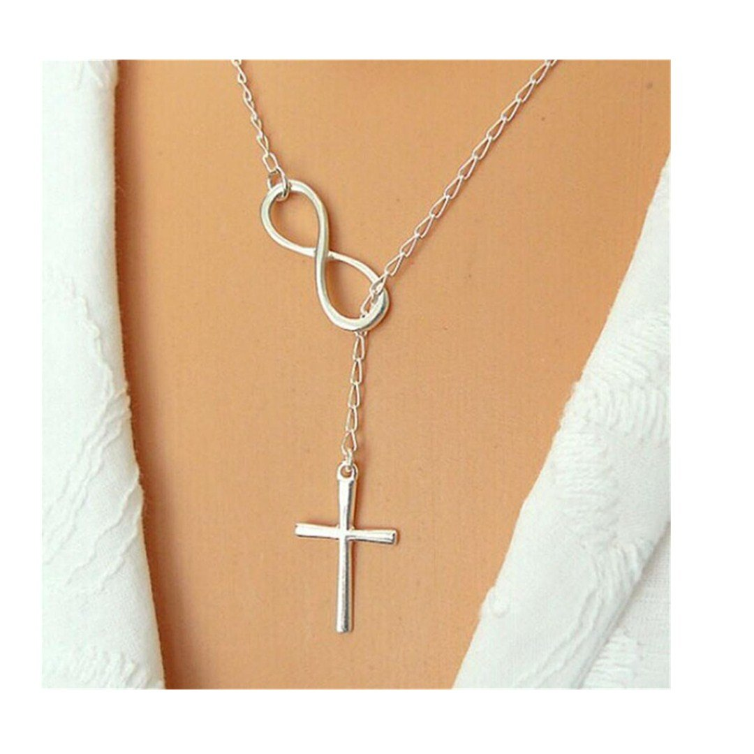 Sinfu Necklace Women Fashion Vintage Casual Personality Infinity Cross Lariat Pendant Necklace Chain