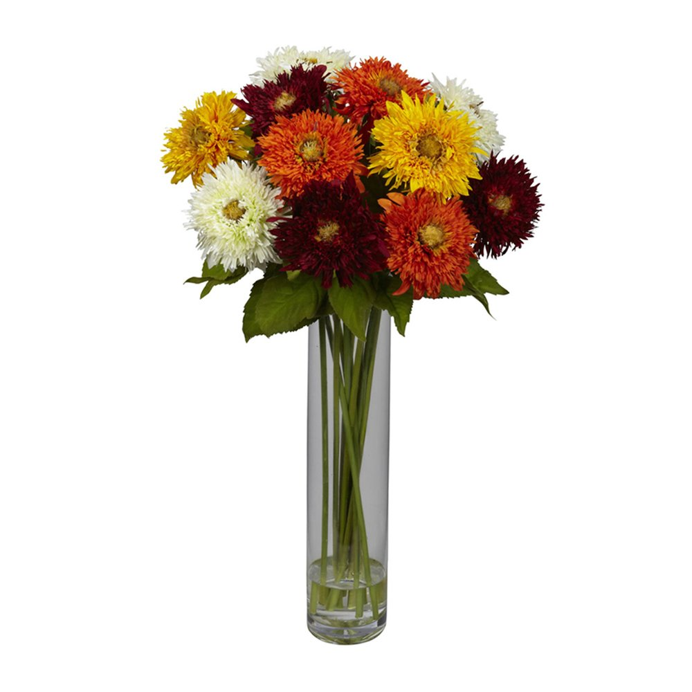 ほぼ自然ひまわりwith円柱花瓶シルクFlower Arrangement Assorted B00F6P0Z7W