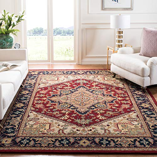 Safavieh Heritage Collection HG625A Handcrafted Traditional Oriental Heriz Medallion Red Wool Area Rug (9' x 12')