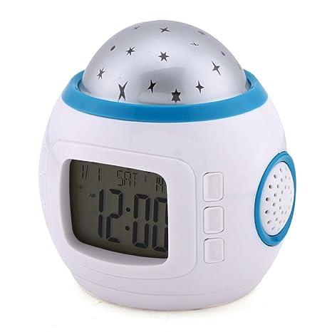 MONDAYNOON Despertador De Proyección De Estrella De Multicolor Con Luz Calendario Alarma Música Para Dormitorio para Bebè