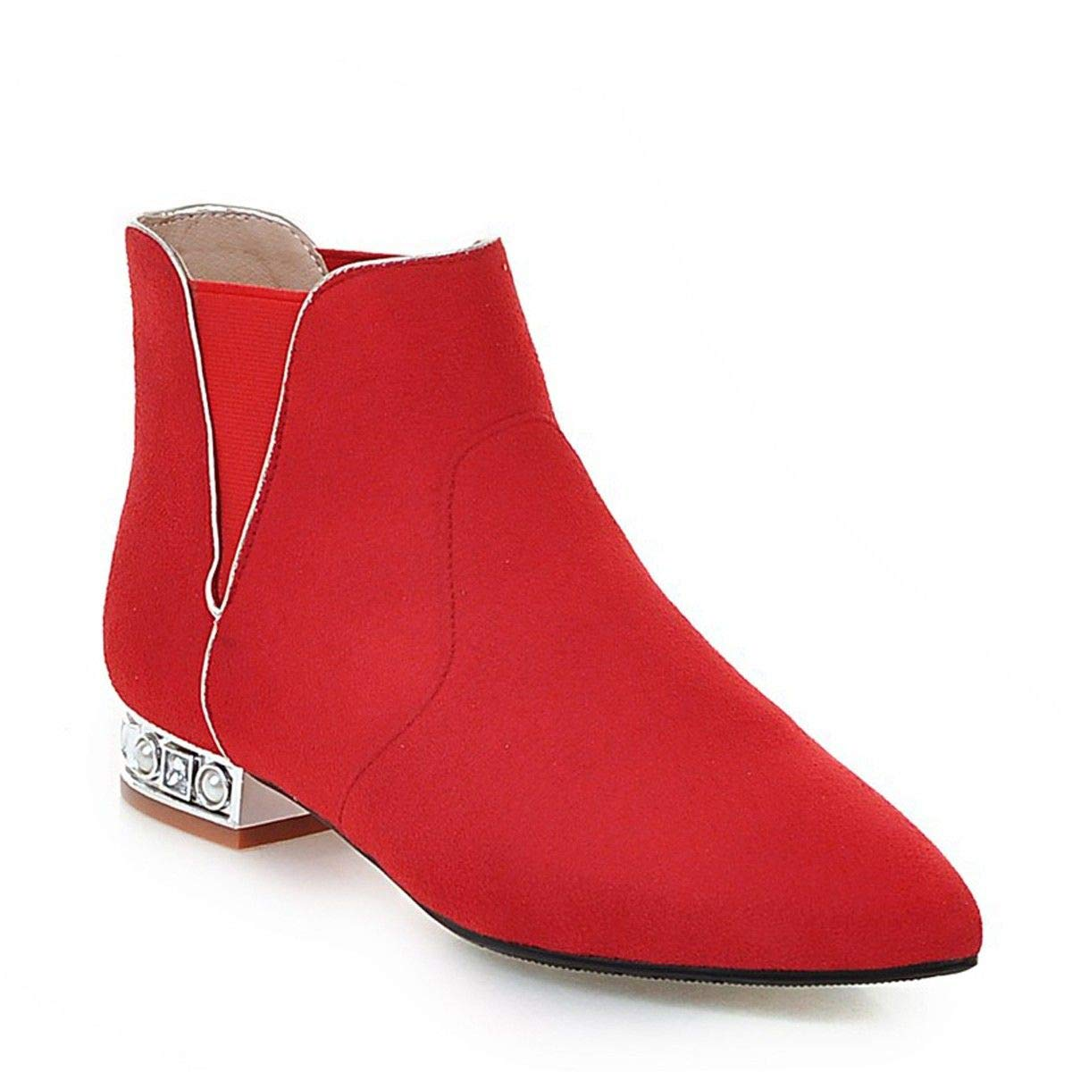 HBDLH Damenschuhe Rote Wedding Schuhe Winter Kurze Stiefel Niedrige Absätze Die Braut Rote Schuhe Flache Sohlen Schwangere Heiratet Stiefel Nackt - Stiefel 36 des