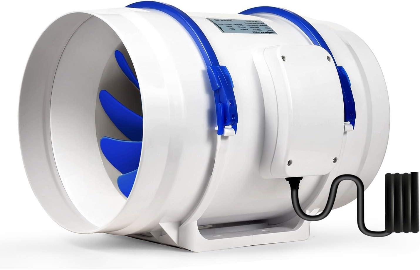 Hon&Guan Ventilador Extractor de Conducto en Línea para Baño, Invernaderos, Hidropónicos (ø200mm)