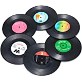 Record Coasters for Drinks, Funny, Absorbent, Novelty 6 Pieces Vinyl Disk Coasters, Effective Protection of the Desktop…