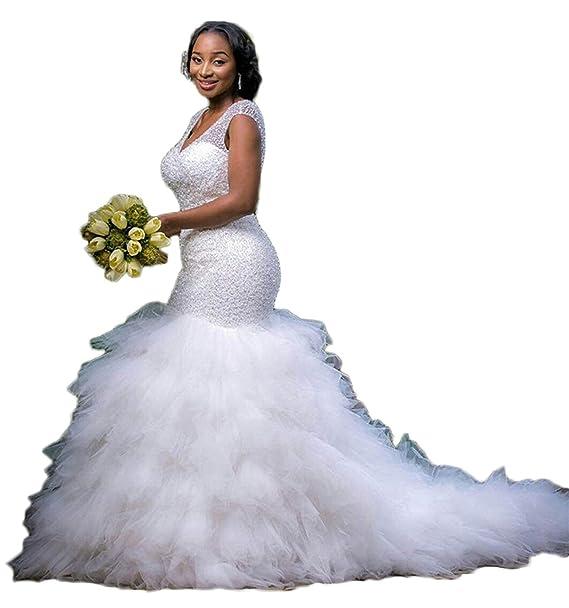 Graceprom Women\'s Plus Size Mermaid Wedding Dress Beads ...