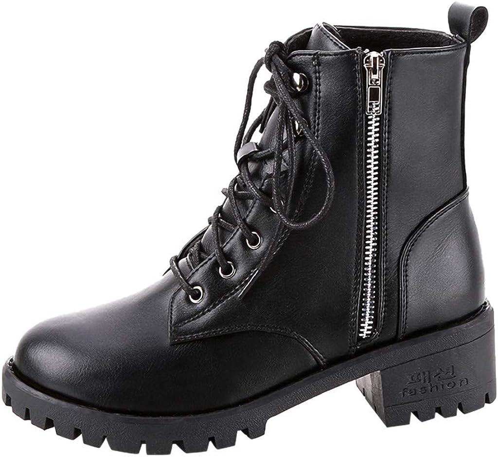 YGbuy Botas De Mujer De Moda, Cremallera De Encaje Negro De Otoño e Invierno con Botas De Moto Retro Botines Botas De Estilo Militar Zapatos Planos Transpirables Cómodos Tacones Altos