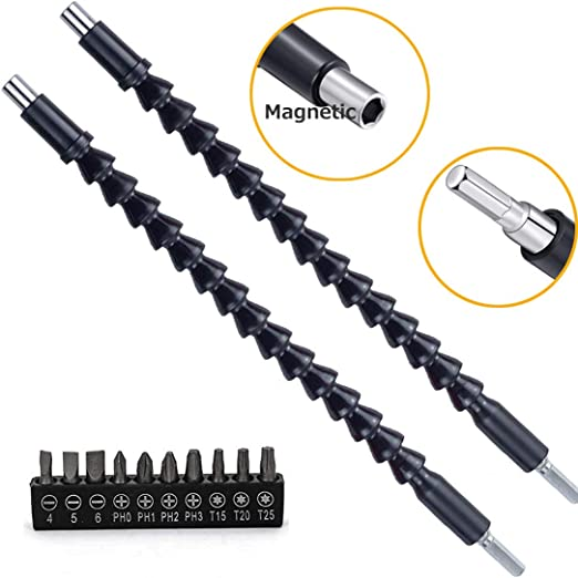 2 Pieces Enhanced 11.6 Inches Flexible Drill Bit Extension Shaft with 10 Pcs Drill Bit Sets,1//4 Hex Head Magnetic Flexible Screwdriver Extension Shaft for Multi-angle Work