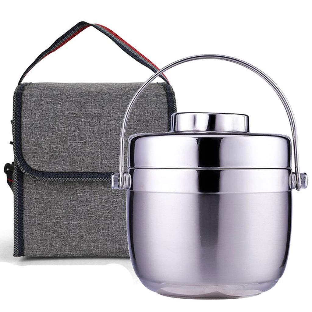 Color : Natural, Size : 1200ML-Bag Contenitori For Alimenti Isolati A Tenuta Stagna Thermos per alimenti Matraccio In Acciaio Inossidabile Thermos Ad Alta Capacit/à A Due Piani