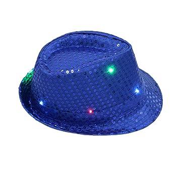 e130ebf7e3795 Liangxiang Colorful LED Luminous Jazz Cap Unisex Bright Fedora Flashing Hats  for Night Party Easily Adjustable