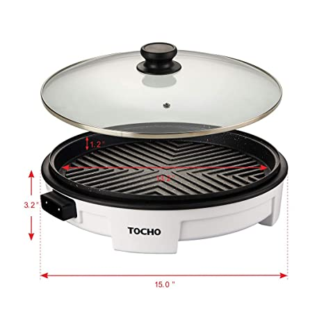 Electric Griddles,Electric Indoor Grill,Electric Frying Pan with Lid, Heating Smokeless Table Grill, Non-stick Easy to Clean BBQ Grill, for ...
