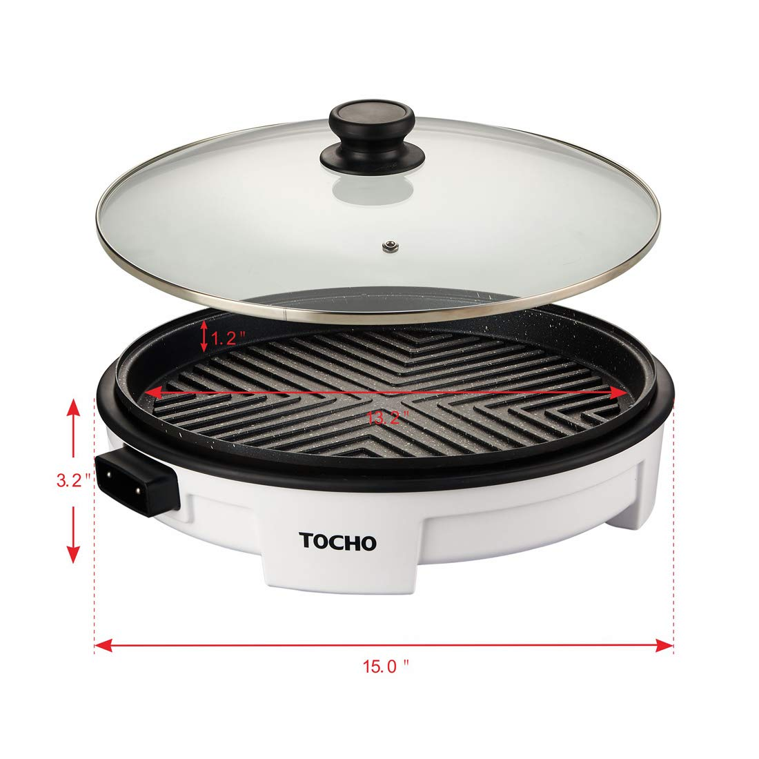 Electric Griddles,Electric Indoor Grill,Electric Frying Pan with Lid, Heating Smokeless Table Grill, Non-stick Easy to Clean BBQ Grill, for Party/Home, ETL Certified (TOCHO HY-6504,14''/120V/1500W)
