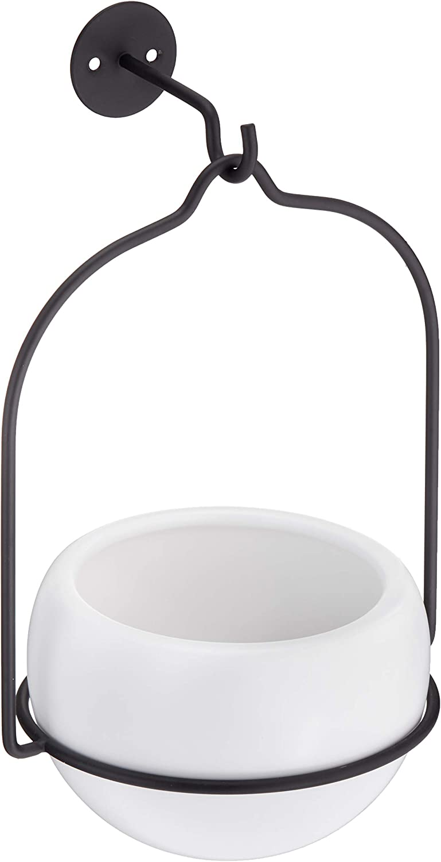AmazonBasics - Macetero colgante, redondo, blanco/negro