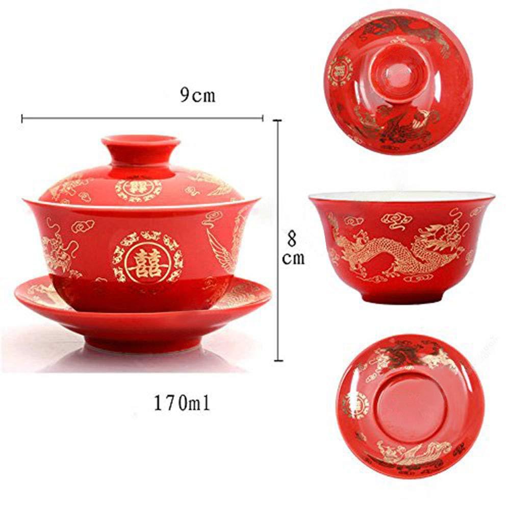 F/ür Hochzeits Geschenk und Haushalt Handgemalte Pfingstrose Chinesisch Tee Schale Mit Deckel und Untertasse Rote Keramik Porzellan Tee Sch/üssel