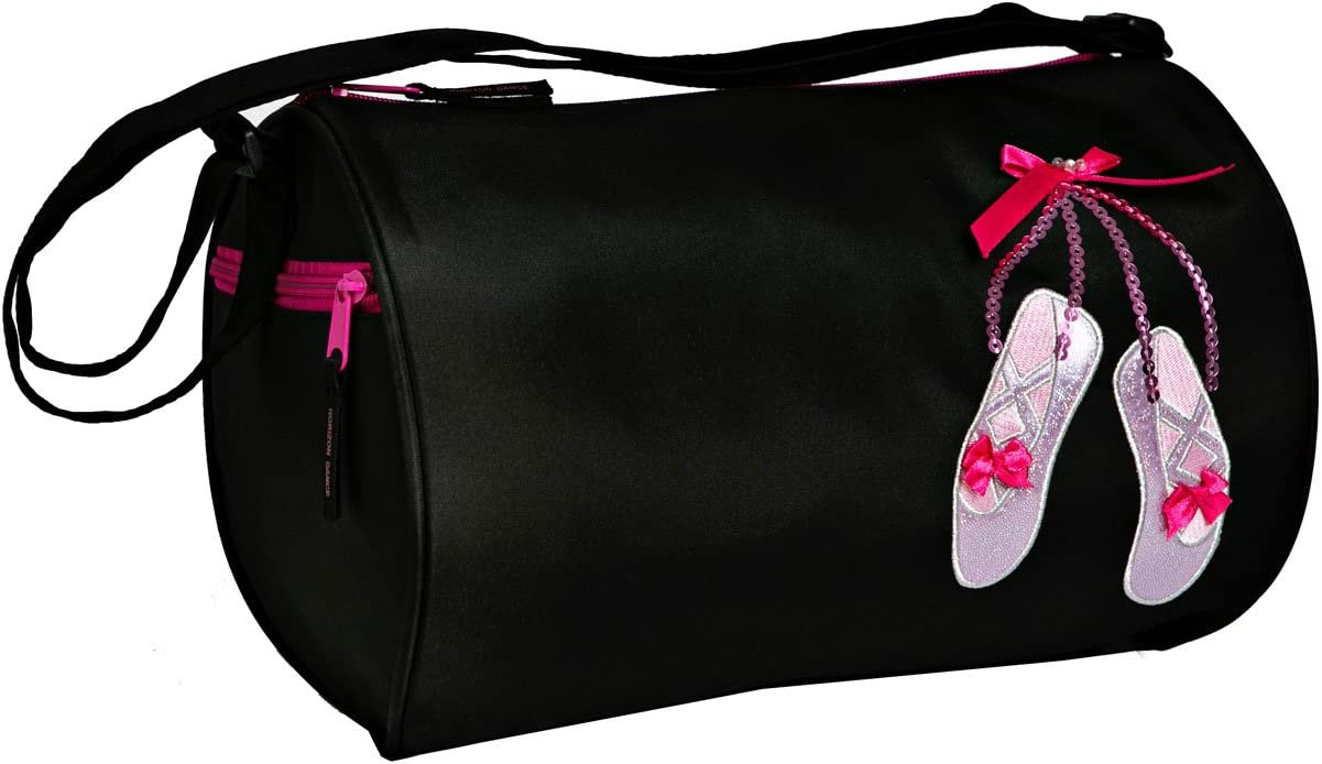 Horizon Dance 6770 Sparkle Dance Shoes Applique Duffel Bag Black