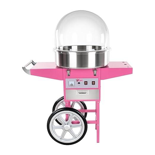 Royal Catering Máquina de Algodón de Azúcar con Carrito, Control Termostato y Rotación, 1200W, color Rosa, 52 cm: Amazon.es: Hogar