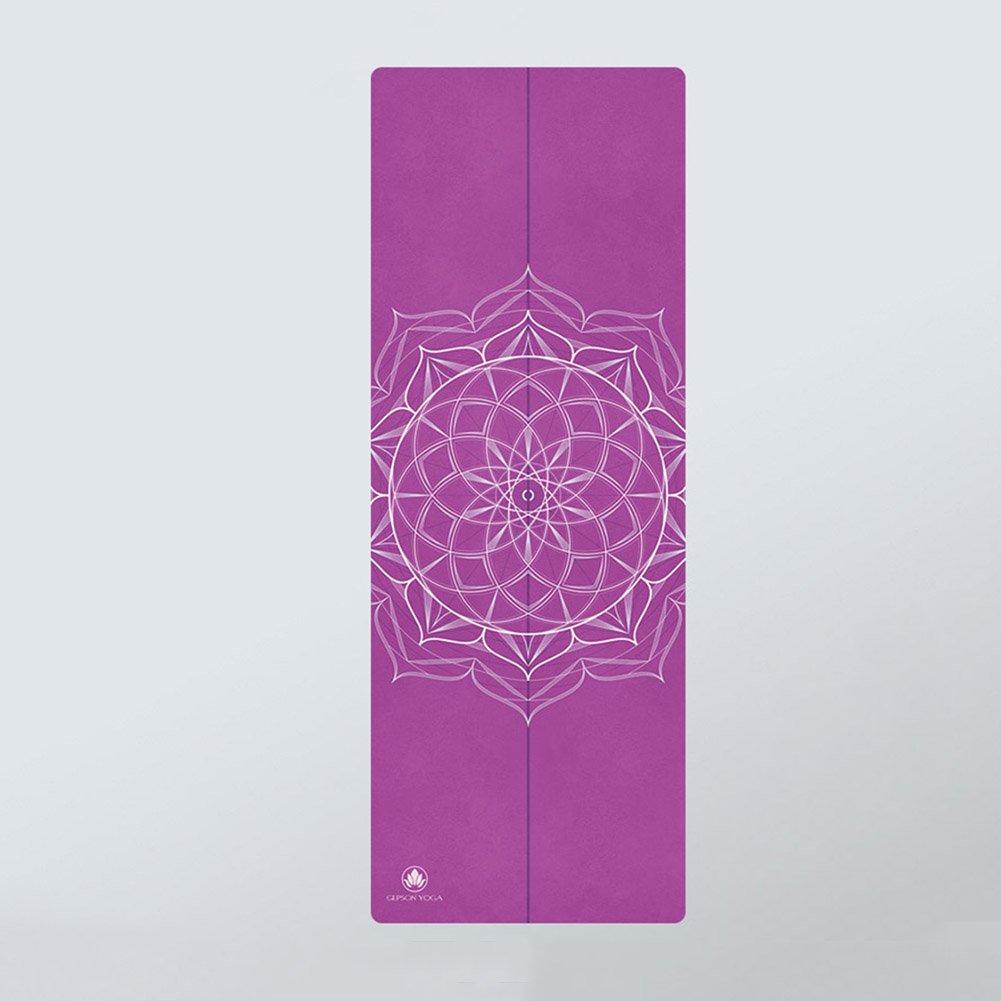 QIDI Yogamatte Gummi Fitness Rutschfest Tragbar Falten Dünn Kissen 185  68  0,6cm (Farbe   lila)
