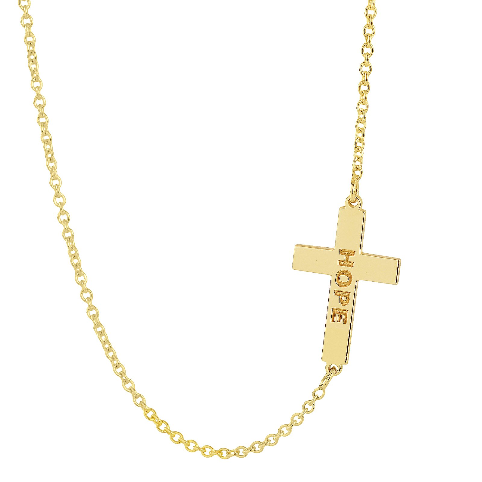 Solid 10K Yellow Gold TSmall iny Sideway Cross Charm Pendant Necklace Personalized Name Engraved (16 Inches, yellow-gold) by Soul Jewelry (Image #2)