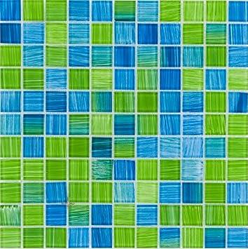 Glasmosaik Fliesen Blau Kiwi Wand Boden Dusche WC Küche Matten - Glasmosaik fliesen blau