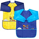 BAHABY Kids Art Smocks 2 Pack Painting Smock with Long Sleeve and 3 Pockets for Age 3-8