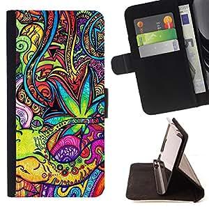 King Art - Premium-PU-Leder-Prima caja de la PU billetera de cuero con ranuras para tarjetas, efectivo Compartimiento desmontable y correa para la mu?eca FOR Sony Xperia Z1 C6902 C6903 C6906- Colorfull space