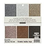 American Crafts 6'' x 6'' Glitter Metallics Paper Pad Stack - Premium Printed Cardstock - Scrapbooking Essential