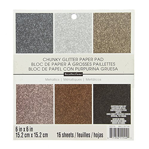 American Crafts 6'' x 6'' Glitter Metallics Paper Pad Stack - Premium Printed Cardstock - Scrapbooking Essential by American Crafts