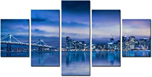 sechars - 5 Piece Canvas Wall Art Night View San Francisco Skyline and Bay Bridge Picture Print on Canvas Modern Wall Decor City Artwork Framed Ready to Hang