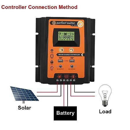 KIMISS 12V / 24V MPPT Controlador de carga solar Regulador de batería del panel solar con Pantalla LCD dual USB(50A): Amazon.es: Coche y moto