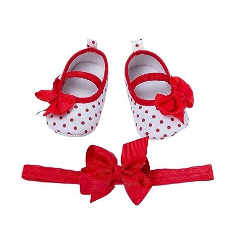 YukeBaby Scarpe Primi Passi Bambina Neonata Regalo di Compleanno Scarpe da  Battesimo per 0-24 21b74e4521fb