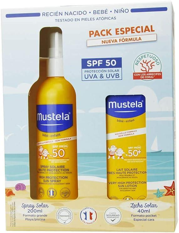 MUSTELA PACK SOLAR LECHE CORPORAL SPF50 + CREMA CARA SPF50: Amazon.es: Belleza