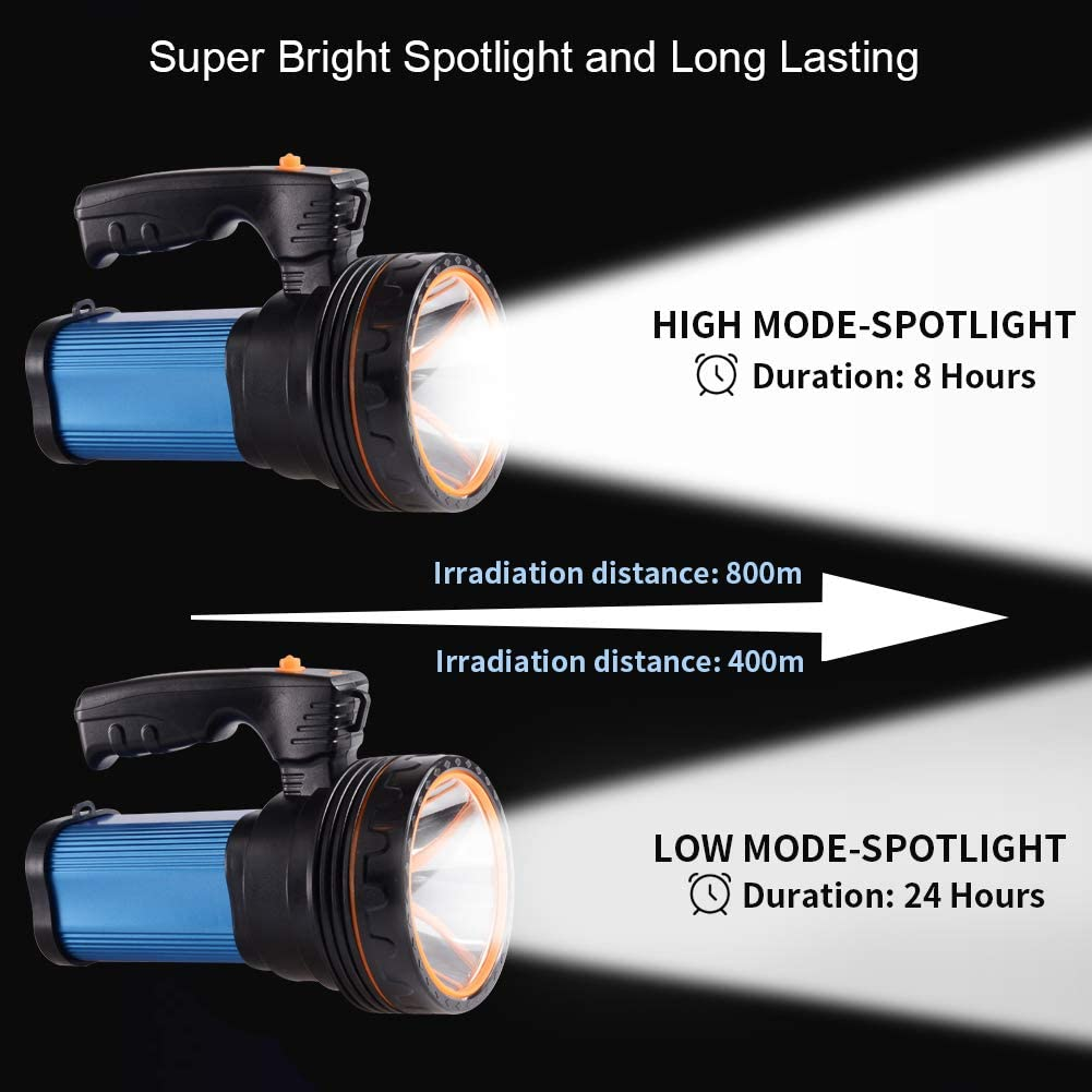 9000ma 35W Red Eornmor Outdoor Handheld Portable Flashlight 6000 Lumens USB Rechargeable Super Bright LED spotlight Torch Searchlight Multi-function Long Shots Lamp