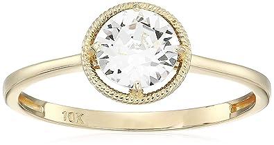 b7f24f518 Amazon.com: 10k Gold Round-Cut Birthstone Ring made with Swarovski Crystal:  Jewelry