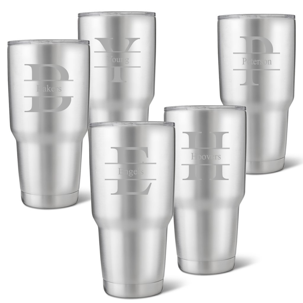 Set of 5 Húsavík 30 oz. Stainless Steel Double Wall Insulated Tumbler - Personalized Tumbler - Stamped Monogram Tumbler