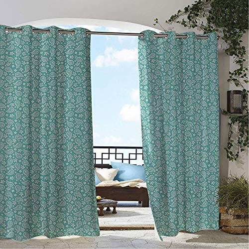 Linhomedecor Outdoor Waterproof Curtain Aqua Paisley Retro Eastern Inspired Bohemian Motif Floral Ornaments Illustration Seafoam and White Porch Grommet Free Curtain 108 by 84 inch