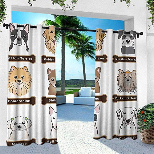 leinuoyi Dog, Outdoor Privacy Porch Curtains, Various Type of Dogs Nameplate Boston Terrier Domestic Animal Faithful Loyal, W84 x L96 Inch, Grey Cream White