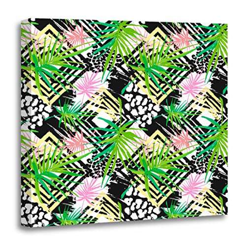 Semtomn Canvas Wall Art Print Exotic Tropical Pattern Ink Brush Strokes in Doodle Unique Artwork for Home Decor 20 x 20 Inches