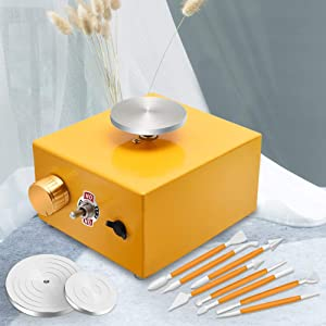 with 2 Mini Turntable Pottery Wheel Machine, Electric Pottery Wheel Forming Machine DIY Clay Tool with Tray for Ceramic Work Ceramics Clay Art Craft(Golden)
