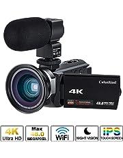 """Videocamera 4K, Cofunkool WiFi Ultra Alta Definizione 48MP Digitale Videocamera, Sensore CMOS, IR Visione Notturna, 3.0"""" IPS Schermo, con Microfono e Obiettivo Grandangolare"""