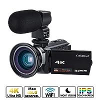 """CofunKool WiFi 4K Videocamera Ultra Alta Definizione 48MP, Sensore CMOS, IR Visione Notturna, 3.0"""" IPS Schermo, con Microfono e Obiettivo Grandangolare"""